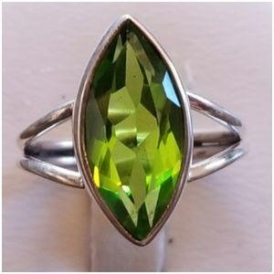 Genuine 5ct Olivine Peridot Solitaire Ring Size 7
